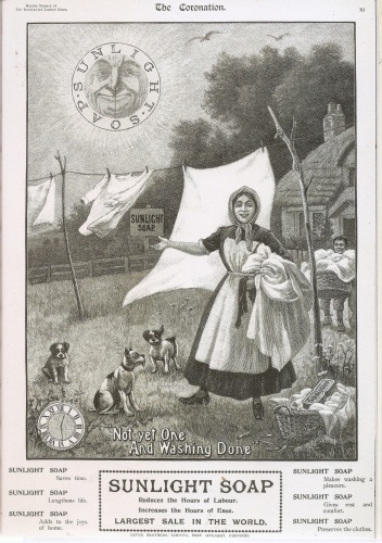 Ideally washing was pegged on a line and dried outdoors in the fresh air. This advert for Sunlight Soap in the Illustrated London News, 1902, makes wash day appear quick and easy