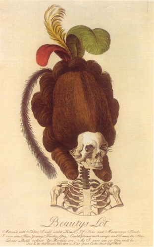 This caricature, 1778, pokes fun at artificial macaroni hairstyles and is also a gruesome reminder of the ephemeral nature of fashion, in the face of death