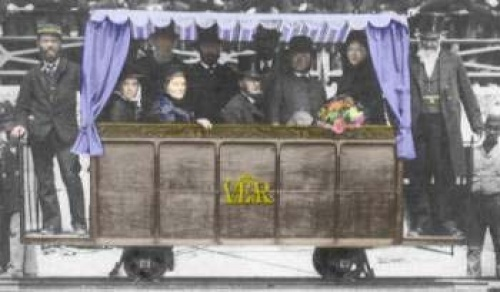 At noon on August 4th 1883 Magnus Volk presented the people of Brighton with his latest creation - an electric railway. Magnus is standing on the left hand platform with the Mayor on the right.