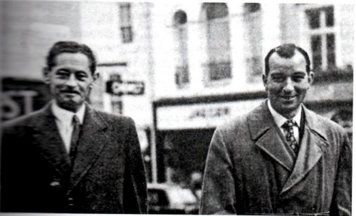 """Photograph courtesy of David Rowland.  John Hammersley (left) and Trevor Heath.  At the time of the trial a policeman in Brighton earned about £6 for a 48 hour week.  Heath, who had a taste for the good things in life, was clearly tempted by the """"dark side"""".  Sending his children to private school on a policeman's salary should perhaps have made warning bells ring long before the investigation."""