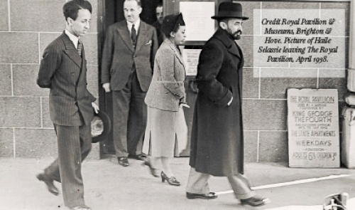 Credit Royal Pavilion & Museums, Brighton & Hove. Picture of Haile Selassie leaving The Royal Pavilion, April 1938.