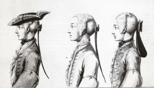 Male wigs were fashionable for much of the Georgian era. This plate from The Exact Dress of the Head 1725-26 illustrates tie wigs and a bag wig