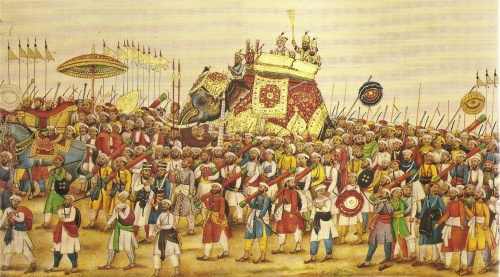 This section from a panorama of the durbar procession of Akbar II, India 1835, displays the ceremonial parasols that featured prominently in Asiatic cultures [Wikimedia Commons]