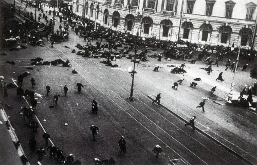 July 4, 1917. Street demonstration on Nevsky Prospekt, Petrograd, just after the troops of the Provisional Government have opened fire with machine guns (Wikimedia Commons)