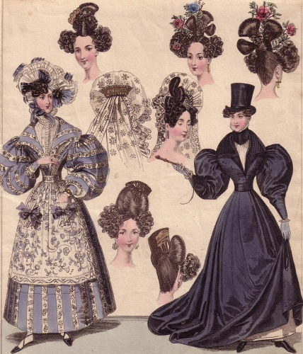 Versions of the artificial 'Apollo Knot' are seen in this fashion plate from 1830
