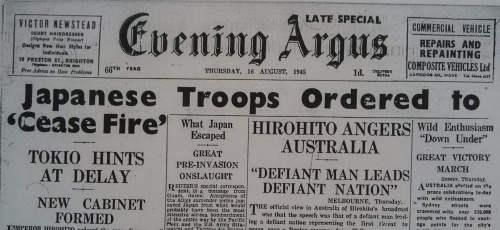 """Evening Argus, Thursday 16th August 1945. """"The surrender of Japan has brought to an end six years of warfare which has caused untold loss and misery to the world"""" (King George VI)."""