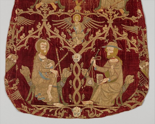 An embroidered chasuble, 1330-1350, demonstrates the famed medieval 'Opus Anglicanum' carried out in religious and secular workshops by men and women