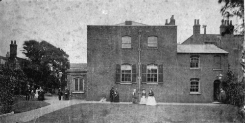 Quaker Meeting House, 1875.  Burials in the Meeting House's grave-yard stopped after the Burial of the Dead beyond the Metropolis Act, 1853, was passed.