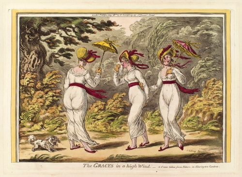 'The Graces in a High Wind', 1810 by satirical artist, James Gillray, highlights the revealing, insubstantial nature of neo-classical white muslin gowns