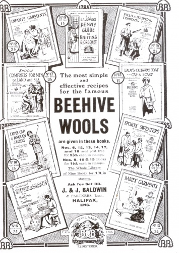 This Beehive Wools advert, 1915, shows the range of knitwear produced during WW1: comforts for the troops, economical civilian clothes and leisure/sportswear.