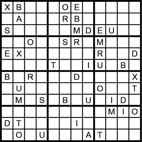 Instead of numbers, this Sudoku uses 12 different letters. The same rules apply as in a regular Sudoku, except that somewhere in the grid, you will find a 12 letter word.