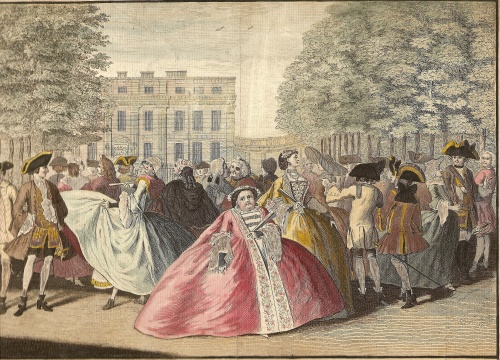 Vast hooped Georgian skirts and their wearers are ridiculed in 'Taste à La Mode', an engraving after L P Boitard, 1745