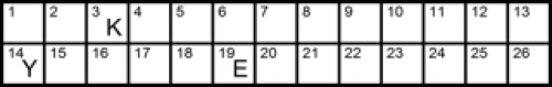 There are no clues to this crossword. Numbers have replaced the letters of the alphabet. Three letters have been given to you to start you off. The small grid is provided to help you remember which letter is associated with which number as you proceed.